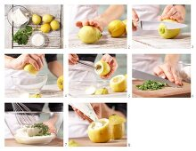 Iced lemons filled with lemon sorbet