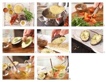 How to prepare avocado with an almond crust served with bulgar wheat and tomato salad