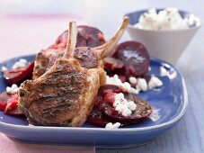 Grilled lamb chops with beetroot