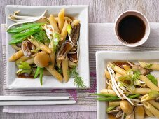 Asian noodles with vegetables and oyster mushrooms