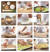 How to prepare tarte flambée with wasabi, prawns and leek