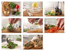 How to prepare rocket salad with olive crostini and pepper vinaigrette