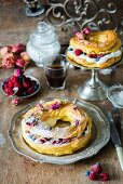 Paris Brest choux pastry cake with cream and fresh berries