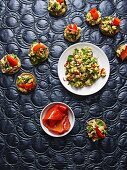 Israeli chickpea salad with red peppers