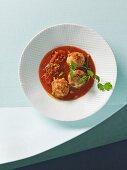 Chicken and tofu polpetti meatballs in tomato sauce