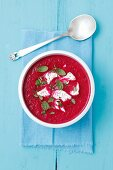 Creamy beetroot soup with goats' cheese