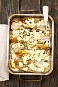 Baked chicory with feta cheese