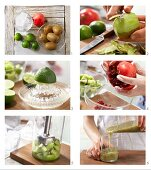 How to prepare kiwi and lime cocktail with pomegranate seeds