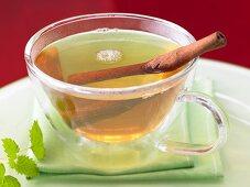 Orange flower tea with cinnamon and mint