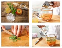 How to prepare a sparkling apple and ginger drink with mint