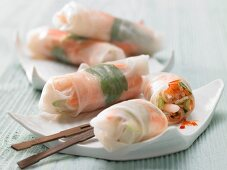 Asian rice paper rolls filled with prawns and vegetables