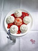 Lavender and sour cream pudding with strawberry sauce