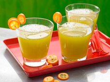 A cucumber and melon drink with kumquats