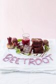 Beetroot brownies with macadamia butter and a beetroot glaze