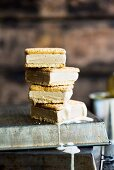 Coffee and condensed milk ice cream sandwiches, stacked