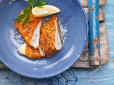 Baked plaice fillet wrapped in carrot