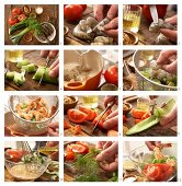 How to prepare prawn and vegetable salad with mustard dressing