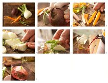 Beetroot, carrot and fennel drink being made