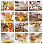 Cannelloni with Hokkaido pumpkin and pumpkin seeds being made