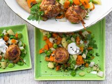 Chicken rolls with a herb and bean vegetable mix