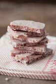 Strawberry and white chocolate slabs, stacked