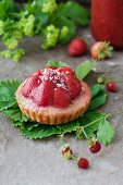 Strawberry tart with shaved coconut