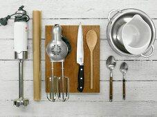 Kitchen utensils for a mousse dessert