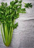 Fresh celery on a linen cloth