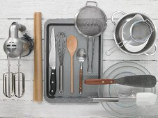 Assorted kitchen utensils for baking