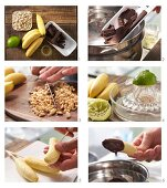Baby banana skewers being made