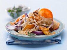 Fried sauerkraut with sweet potatoes and parsley quark