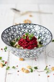 Beetroot and peanut pesto with pasta and large-leaf cress