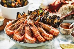 A seafood platter with prawns and mussels