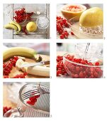 A banana and berry smoothie being made