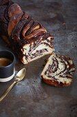 Jewish babka cake with a chocolate filling