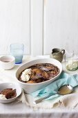 Chocolate clafoutis with pears and gorgonzola