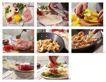 Asia-Wraps mit Putenschnitzel zubereiten
