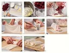 Mini quark and cherry strudels being made
