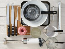 Kitchen utensils for making a veal roast with almond sauce