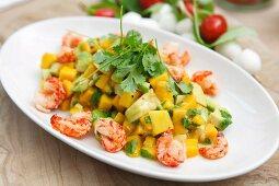Mango and crabmeat salad with avocado and coriander