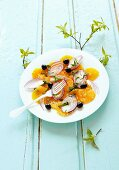 Orange salad with red onions and olives