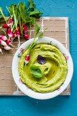 Gebratene-Zucchini-Hummus mit Radieschen