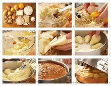 Einen Birnen-Rührkuchen mit Marzipan zubereiten