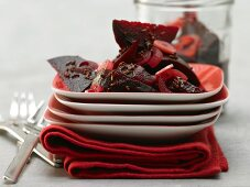 Pickled beetroots with onions, garlic and caraway