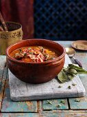Tagine with liver, bacon and vegetables (North Africa)
