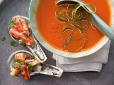 Thai melon soup with crab meat and coriander