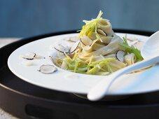 Truffle pasta with leek sauce