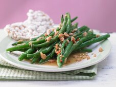 Marinated green beans with ginger, chili and peanut kernels