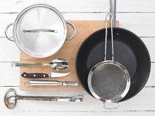 Kitchen utensils for making a pumpkin dish