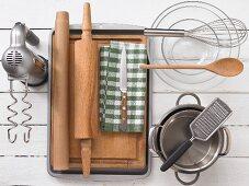 Kitchen utensils for making rhubarb pastries